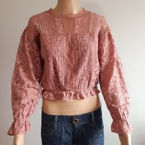 Mystic Long Sleeve Lace Crop-top M